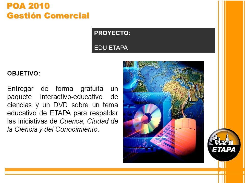OBJETIVO: Entregar de forma gratuita un paquete interactivo-educativo de ciencias y un DVD sobre un tema educativo de ETAPA para respaldar las iniciat
