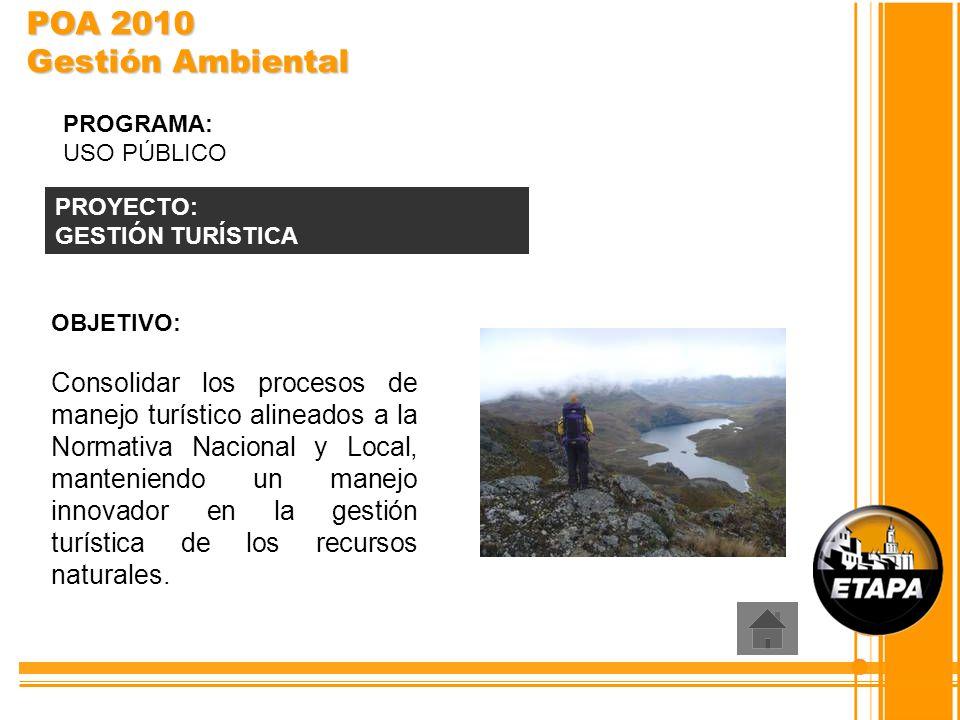 OBJETIVO: Consolidar los procesos de manejo turístico alineados a la Normativa Nacional y Local, manteniendo un manejo innovador en la gestión turísti