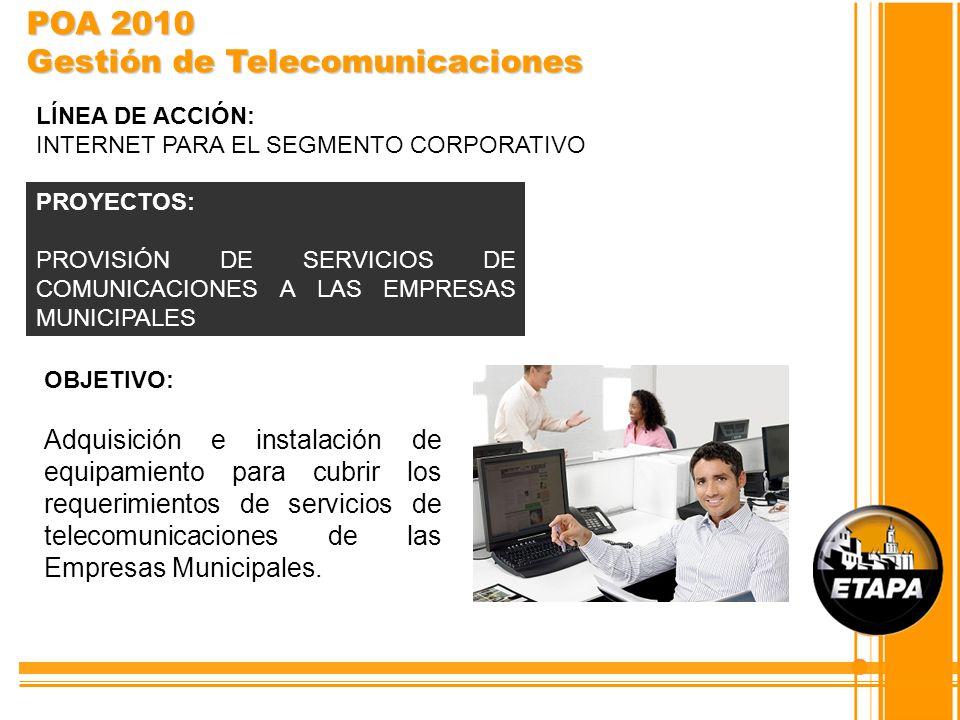 OBJETIVO: Adquisición e instalación de equipamiento para cubrir los requerimientos de servicios de telecomunicaciones de las Empresas Municipales. PRO
