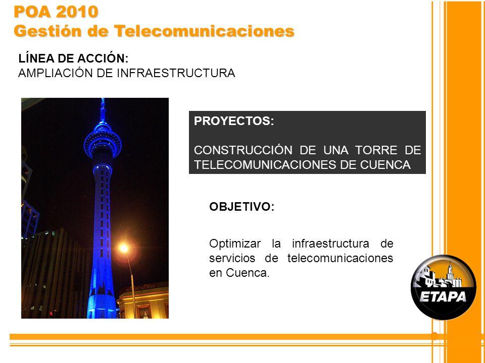 OBJETIVO: Optimizar la infraestructura de servicios de telecomunicaciones en Cuenca. PROYECTOS: CONSTRUCCIÓN DE UNA TORRE DE TELECOMUNICACIONES DE CUE