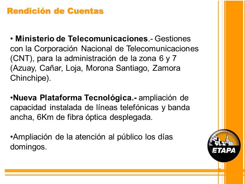 Rendición de Cuentas Ministerio de Telecomunicaciones.- Gestiones con la Corporación Nacional de Telecomunicaciones (CNT), para la administración de l
