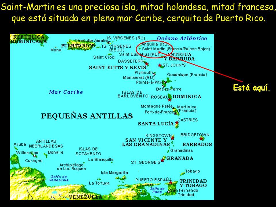 Saint-Martin es una preciosa isla, mitad holandesa, mitad francesa, que está situada en pleno mar Caribe, cerquita de Puerto Rico. Está aquí.
