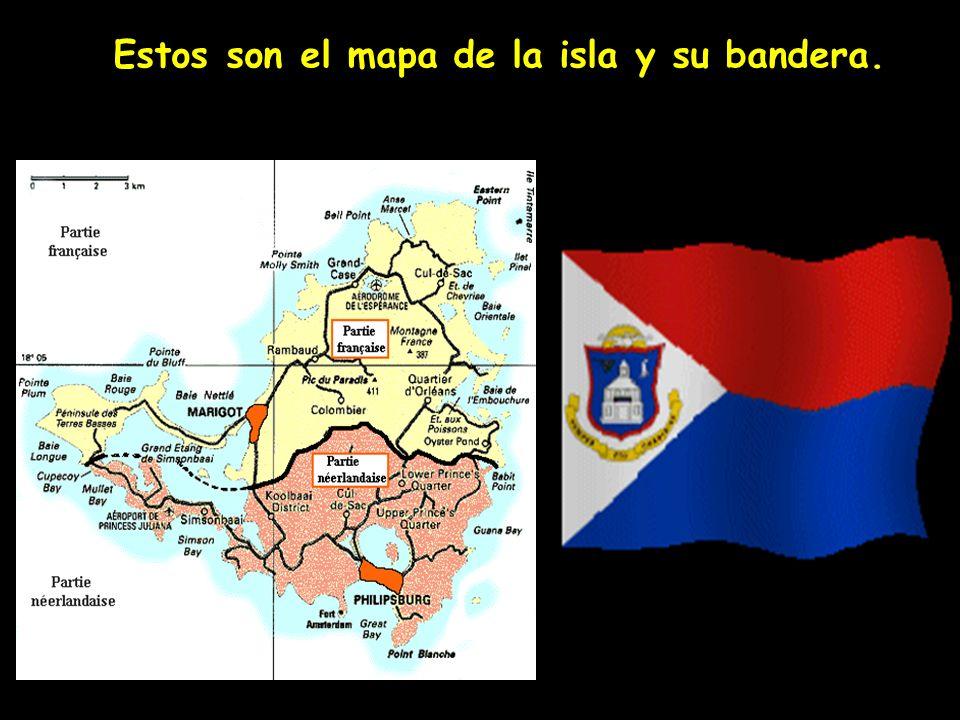 Estos son el mapa de la isla y su bandera.
