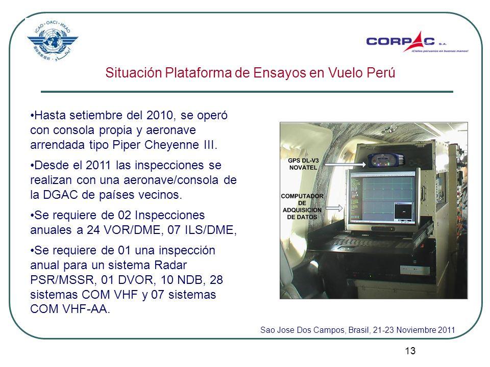 13 Situación Plataforma de Ensayos en Vuelo Perú Hasta setiembre del 2010, se operó con consola propia y aeronave arrendada tipo Piper Cheyenne III. D
