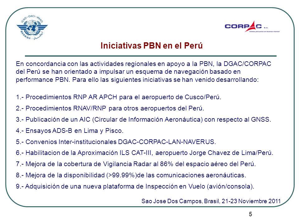 5 Iniciativas PBN en el Perú En concordancia con las actividades regionales en apoyo a la PBN, la DGAC/CORPAC del Perú se han orientado a impulsar un