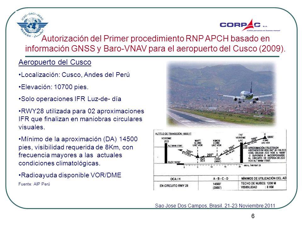 7 Autorización del primer procedimiento RNP APCH basado en información GNSS y Baro-VNAV para el aeropuerto del Cusco (2009).