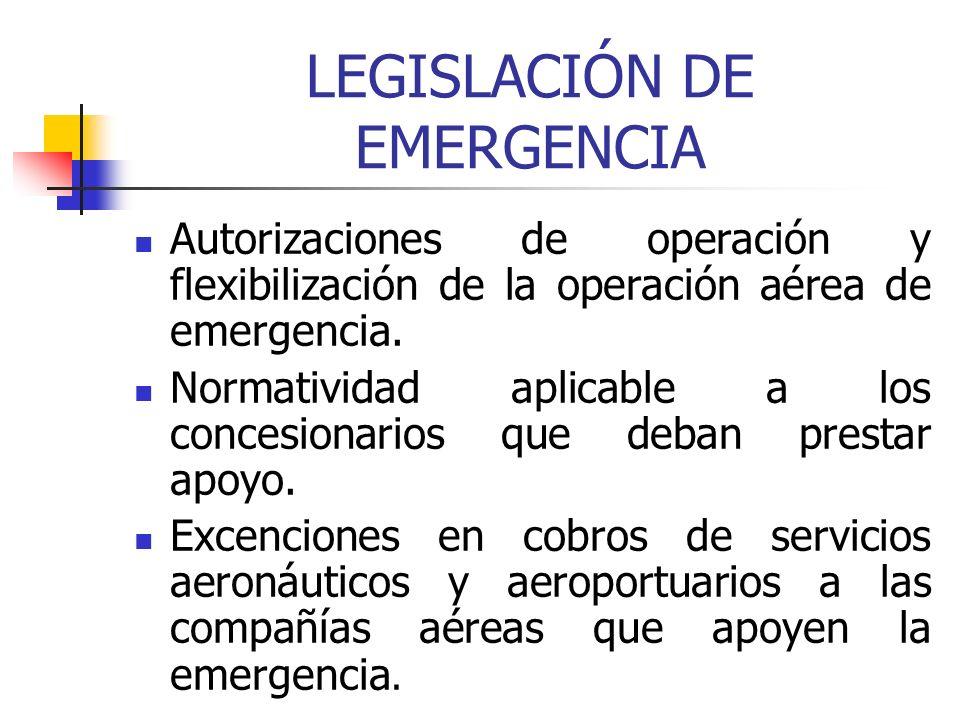 LEGISLACIÓN DE EMERGENCIA Autorizaciones de operación y flexibilización de la operación aérea de emergencia. Normatividad aplicable a los concesionari