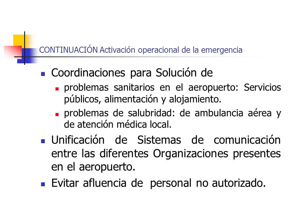 CONTINUACIÓN Activación operacional de la emergencia Coordinaciones para Solución de problemas sanitarios en el aeropuerto: Servicios públicos, alimen