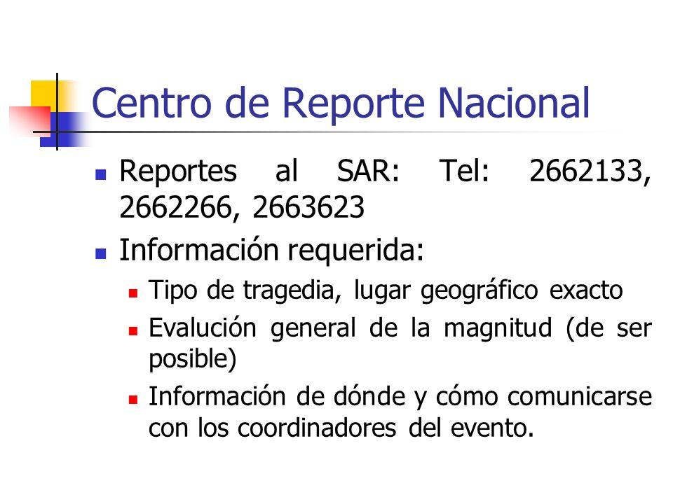 Centro de Reporte Nacional Reportes al SAR: Tel: 2662133, 2662266, 2663623 Información requerida: Tipo de tragedia, lugar geográfico exacto Evalución