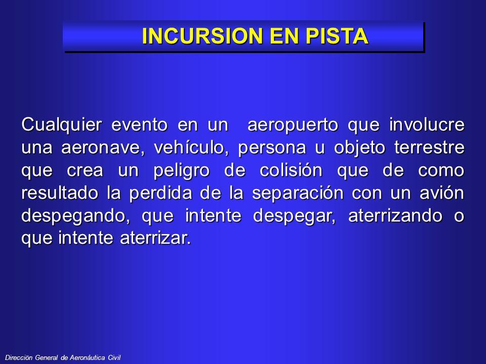 Direcciön General de Aeronáutica Civil Las incursiones en pista son el resultado de tres tipos de incidentes en superficie: CLASIFICACIÓN DE LAS INCURSIONES EN PISTA EN PISTA CLASIFICACIÓN DE LAS INCURSIONES EN PISTA EN PISTA Errores operacionales (OI) Errores operacionales (OI) Desviaciones del Piloto (PD) Desviaciones del Piloto (PD) Desviaciones de Vehículos / Desviaciones de Vehículos / personas en tierra (VPD) personas en tierra (VPD)
