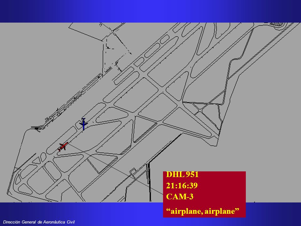 Direcciön General de Aeronáutica Civil DHL 951 21:16:44 CAM were going off, were going off, okay guys TWR 21:16:44 abort takeoff, abort takeoff