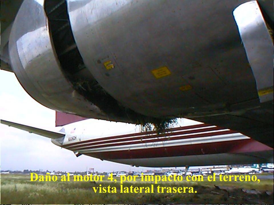 Direcciön General de Aeronáutica Civil Daño motor 4, por impacto con el terreno, vista lateral delantera