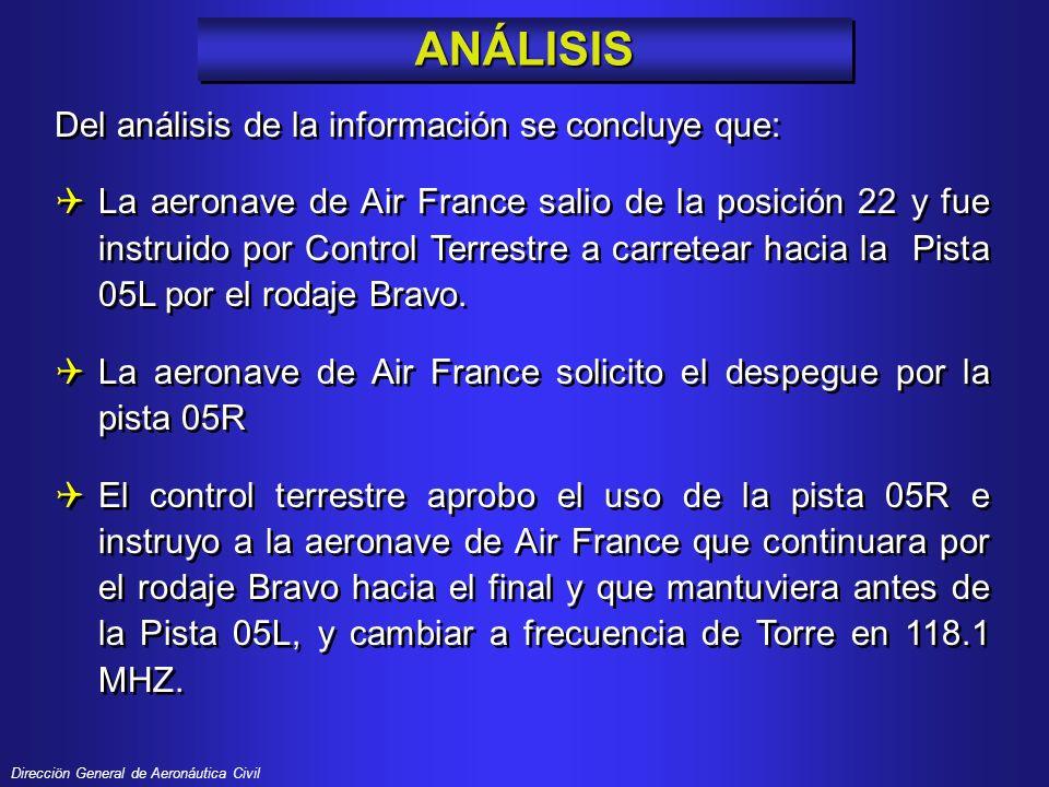 Direcciön General de Aeronáutica Civil El capitan de la aeronave de Air France acepto que fue su error al entrar en la Pista 05L, debido a que penso que estaba entrando al rodaje Bravo.