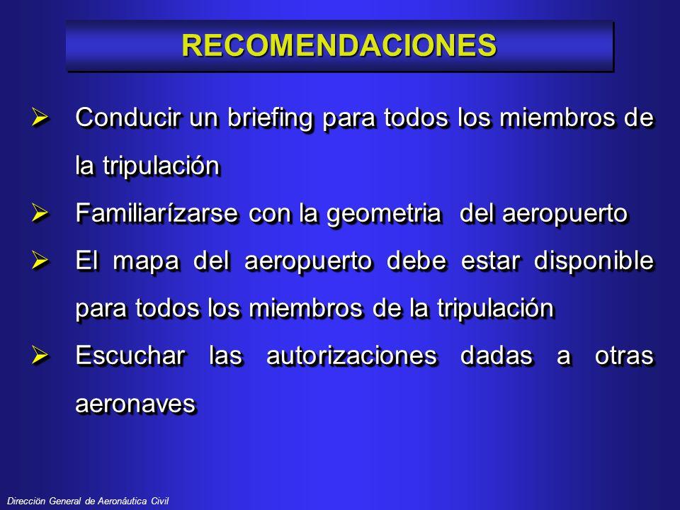 Direcciön General de Aeronáutica Civil RECOMENDACIONESRECOMENDACIONES Conducir un briefing para todos los miembros de la tripulación Conducir un brief