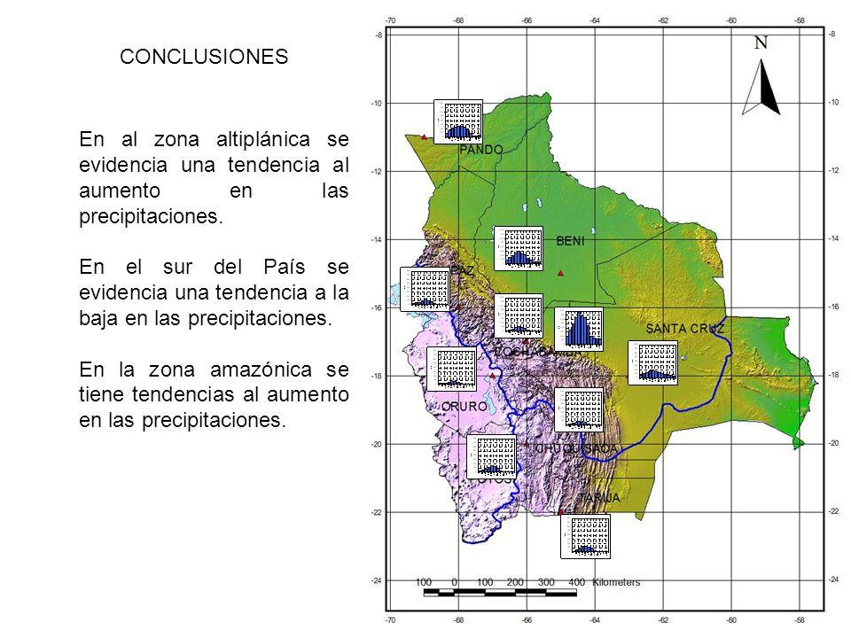 CONCLUSIONES En al zona altiplánica se evidencia una tendencia al aumento en las precipitaciones.