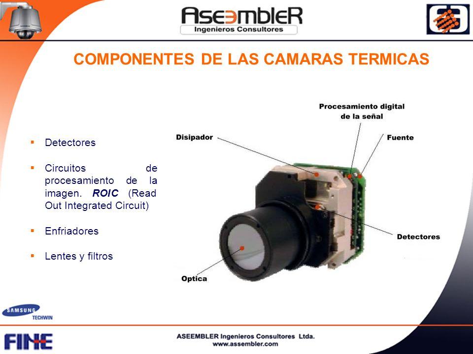 Detectores Circuitos de procesamiento de la imagen. ROIC (Read Out Integrated Circuit) Enfriadores Lentes y filtros COMPONENTES DE LAS CAMARAS TERMICA