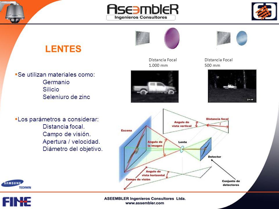 LENTES Se utilizan materiales como: Germanio Silicio Seleniuro de zinc Los parámetros a considerar: Distancia focal. Campo de visión. Apertura / veloc
