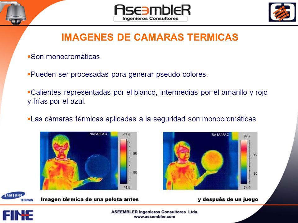 IMAGENES DE CAMARAS TERMICAS Son monocromáticas. Pueden ser procesadas para generar pseudo colores. Calientes representadas por el blanco, intermedias