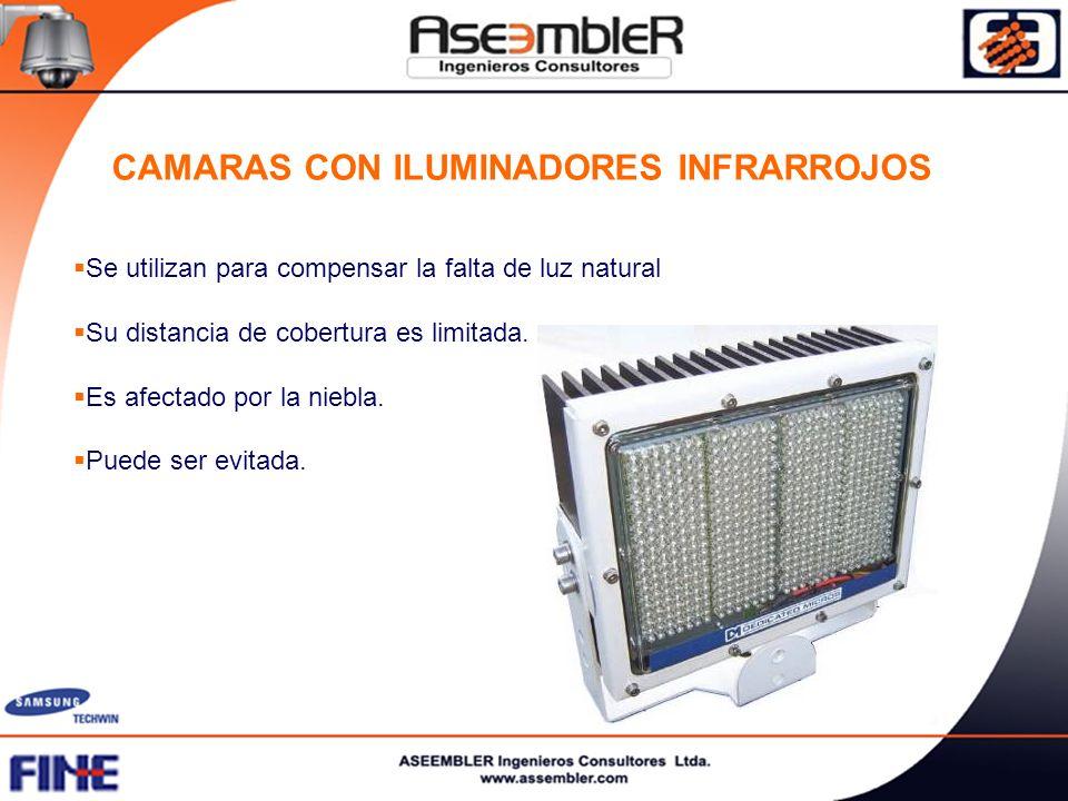 CAMARAS CON ILUMINADORES INFRARROJOS Se utilizan para compensar la falta de luz natural Su distancia de cobertura es limitada. Es afectado por la nieb