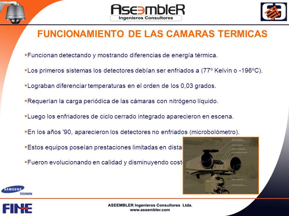 FUNCIONAMIENTO DE LAS CAMARAS TERMICAS Funcionan detectando y mostrando diferencias de energía térmica. Los primeros sistemas los detectores debían se