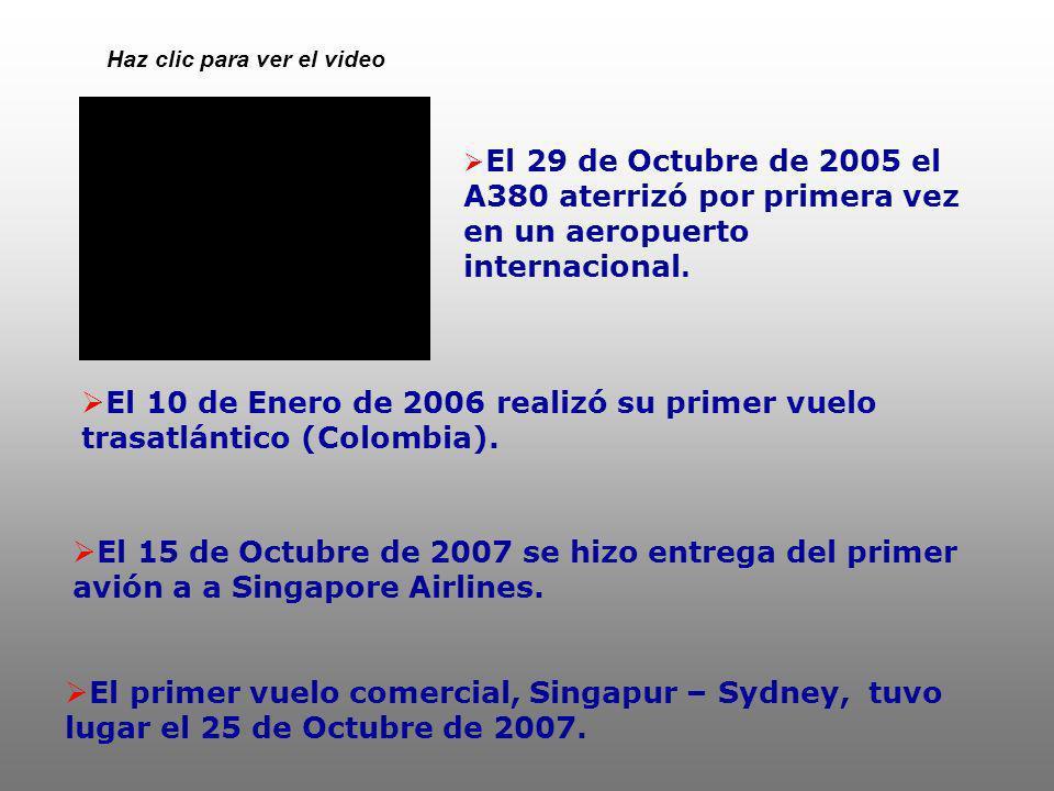 El 29 de Octubre de 2005 el A380 aterrizó por primera vez en un aeropuerto internacional. El 10 de Enero de 2006 realizó su primer vuelo trasatlántico