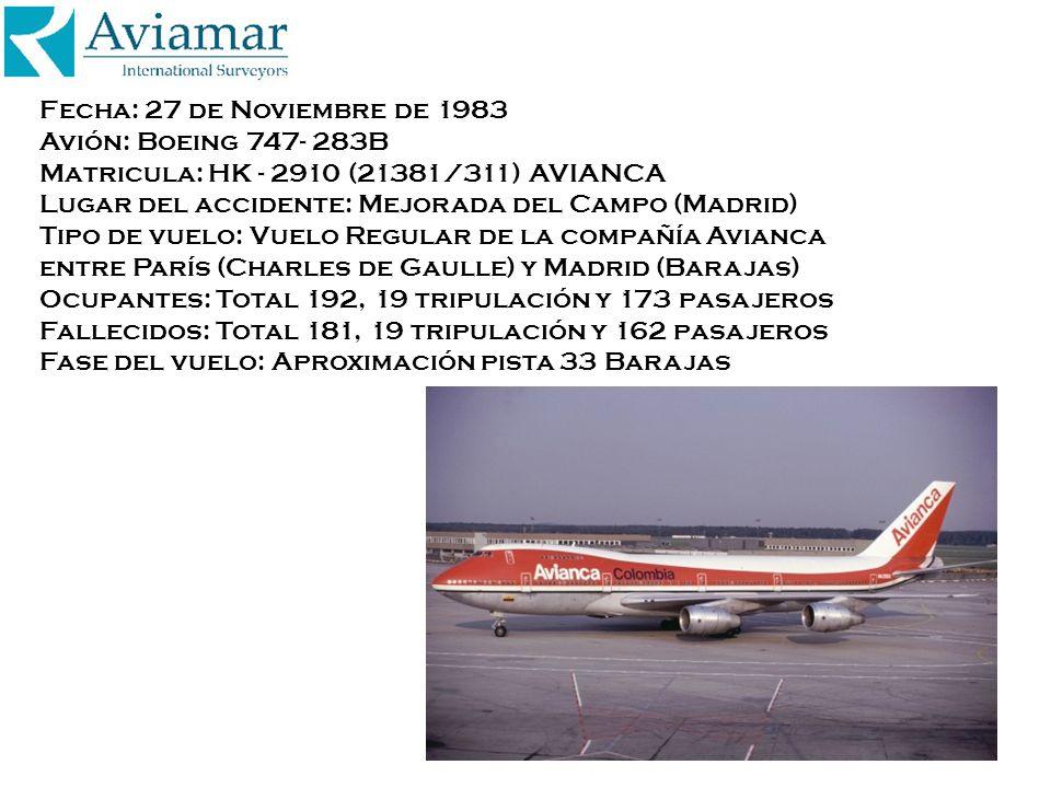 Fecha: 27 de Noviembre de 1983 Avión: Boeing 747- 283B Matricula: HK - 2910 (21381/311) AVIANCA Lugar del accidente: Mejorada del Campo (Madrid) Tipo