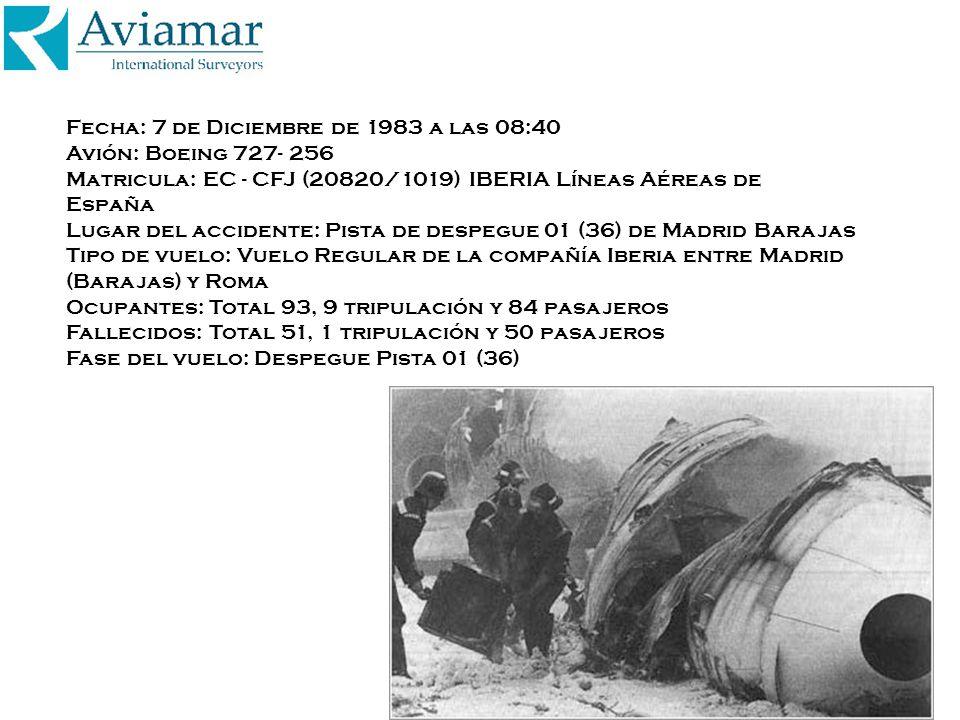 Fecha: 7 de Diciembre de 1983 a las 08:40 Avión: Boeing 727- 256 Matricula: EC - CFJ (20820/1019) IBERIA Líneas Aéreas de España Lugar del accidente: