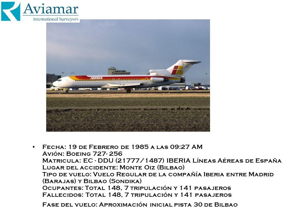 Fecha: 19 de Febrero de 1985 a las 09:27 AM Avión: Boeing 727- 256 Matricula: EC - DDU (21777/1487) IBERIA Líneas Aéreas de España Lugar del accidente