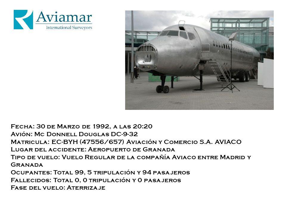 Fecha: 30 de Marzo de 1992, a las 20:20 Avión: Mc Donnell Douglas DC-9-32 Matricula: EC-BYH (47556/657) Aviación y Comercio S.A. AVIACO Lugar del acci