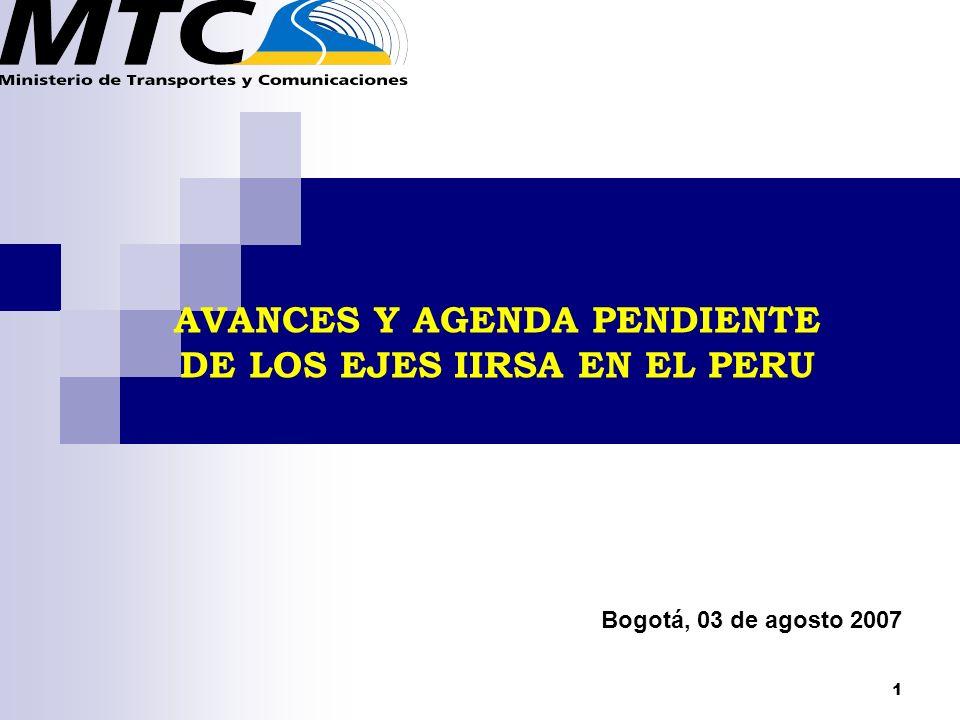 1 AVANCES Y AGENDA PENDIENTE DE LOS EJES IIRSA EN EL PERU Bogotá, 03 de agosto 2007