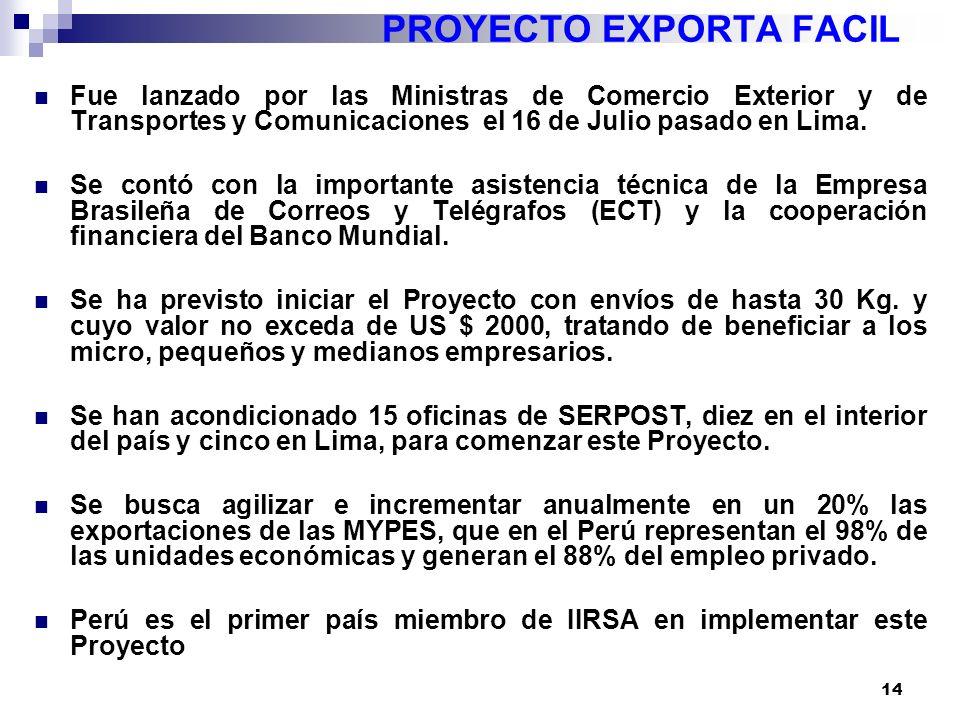 14 PROYECTO EXPORTA FACIL Fue lanzado por las Ministras de Comercio Exterior y de Transportes y Comunicaciones el 16 de Julio pasado en Lima.