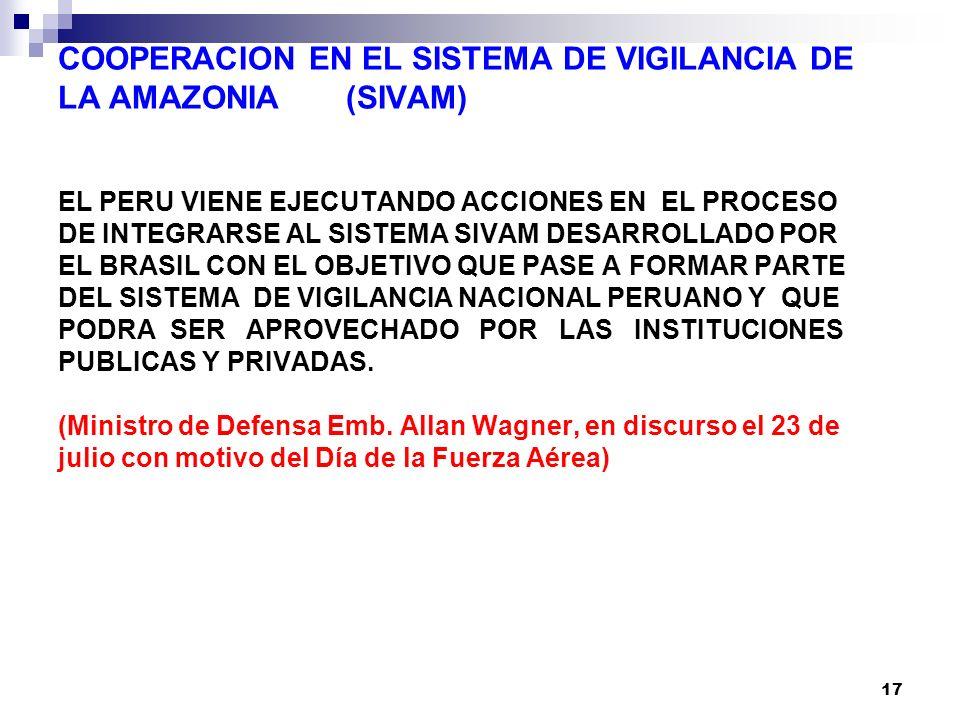 17 COOPERACION EN EL SISTEMA DE VIGILANCIA DE LA AMAZONIA (SIVAM) EL PERU VIENE EJECUTANDO ACCIONES EN EL PROCESO DE INTEGRARSE AL SISTEMA SIVAM DESARROLLADO POR EL BRASIL CON EL OBJETIVO QUE PASE A FORMAR PARTE DEL SISTEMA DE VIGILANCIA NACIONAL PERUANO Y QUE PODRA SER APROVECHADO POR LAS INSTITUCIONES PUBLICAS Y PRIVADAS.
