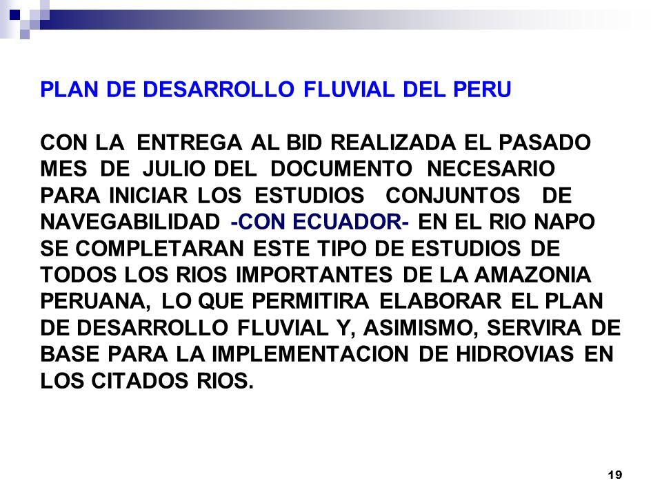 19 PLAN DE DESARROLLO FLUVIAL DEL PERU CON LA ENTREGA AL BID REALIZADA EL PASADO MES DE JULIO DEL DOCUMENTO NECESARIO PARA INICIAR LOS ESTUDIOS CONJUNTOS DE NAVEGABILIDAD -CON ECUADOR- EN EL RIO NAPO SE COMPLETARAN ESTE TIPO DE ESTUDIOS DE TODOS LOS RIOS IMPORTANTES DE LA AMAZONIA PERUANA, LO QUE PERMITIRA ELABORAR EL PLAN DE DESARROLLO FLUVIAL Y, ASIMISMO, SERVIRA DE BASE PARA LA IMPLEMENTACION DE HIDROVIAS EN LOS CITADOS RIOS.