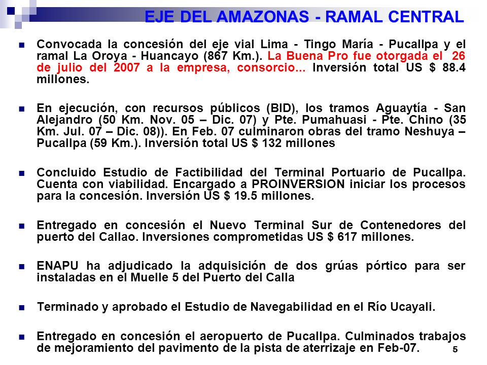 6 EJE DEL AMAZONAS – RAMAL CENTRAL LIMA PUCALLPA