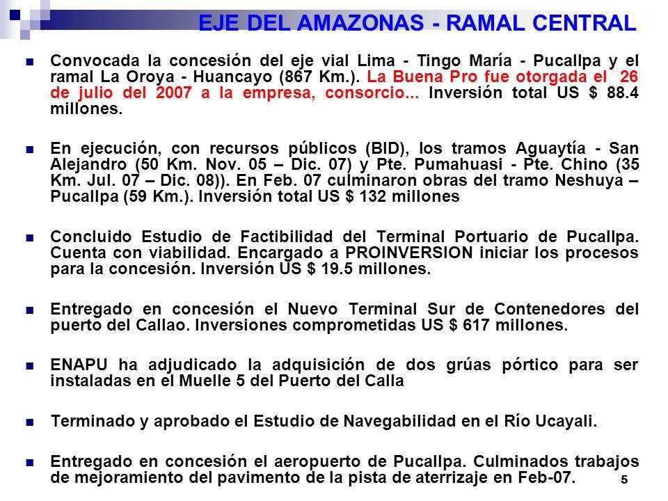 5 EJE DEL AMAZONAS - RAMAL CENTRAL Convocada la concesión del eje vial Lima - Tingo María - Pucallpa y el ramal La Oroya - Huancayo (867 Km.).