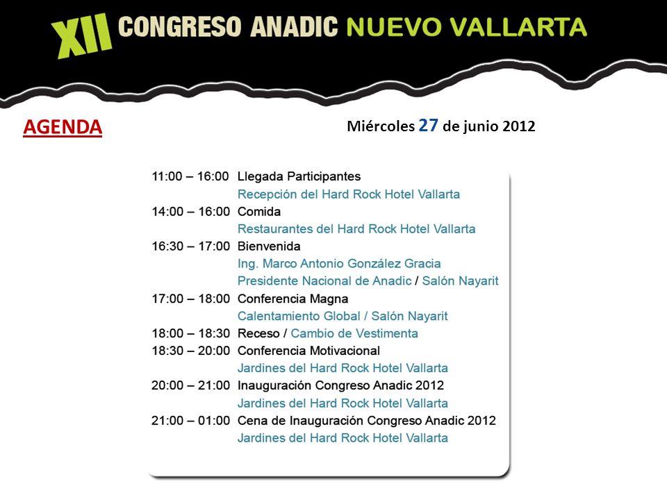 Miércoles 27 de junio 2012 AGENDA