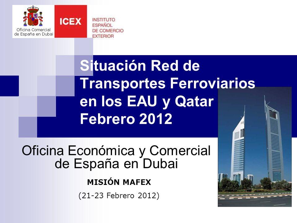 PROYECTOS EN LA ZONA 128.000 millones de USD en proyectos ferroviarios hasta 2019 (2.177 km): $25.000 mill en Saudi en 23 proyectos ($9.000 Meca-Medina) $ 20.600 mill UAE en 8 proyectos ($11.000 mill Emirates Railway project) $35.000 millones en Qatar para metro (4 líneas) y ferrocarriles (AVE New Doha Aeropuerto Internacional, Centro Ciudad de Doha y Doha-Bahrain) $17.000 mill Kuwait $10.000 mill Omán $8.000 mill Bahrain