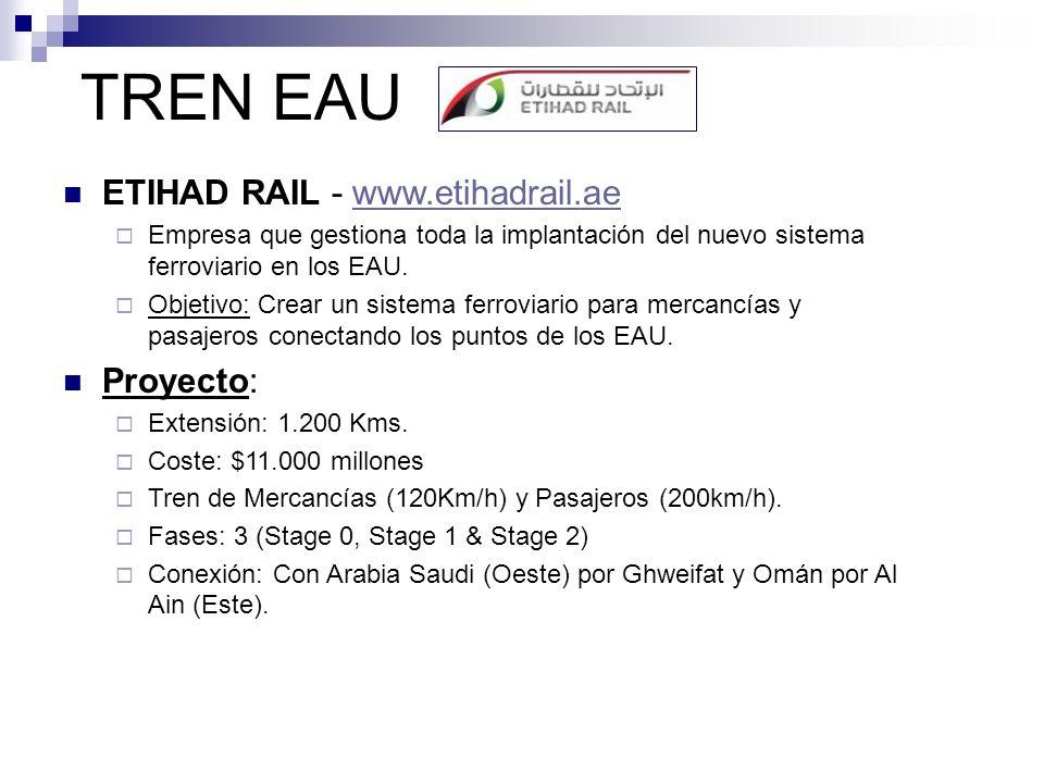 TREN EAU ETIHAD RAIL - www.etihadrail.aewww.etihadrail.ae Empresa que gestiona toda la implantación del nuevo sistema ferroviario en los EAU. Objetivo