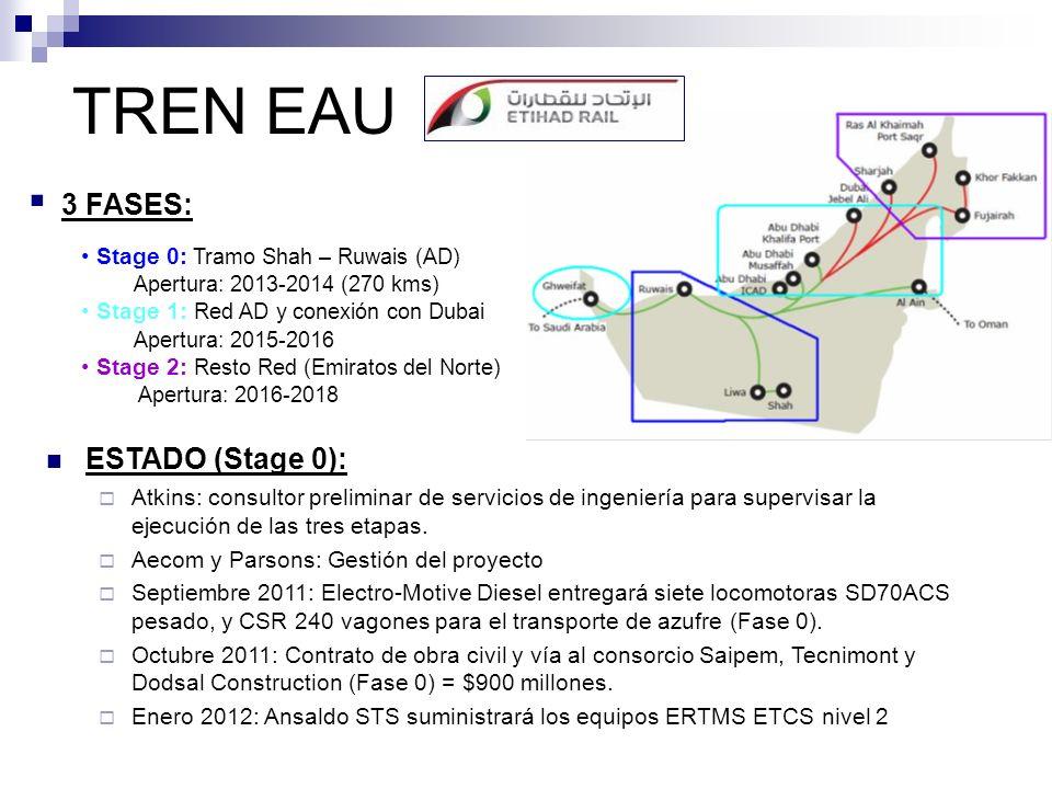 TREN EAU ESTADO (Stage 0): Atkins: consultor preliminar de servicios de ingeniería para supervisar la ejecución de las tres etapas. Aecom y Parsons: G