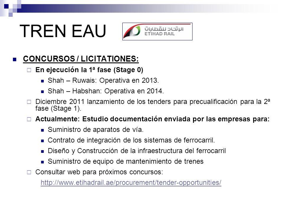 TREN EAU CONCURSOS / LICITATIONES: En ejecución la 1ª fase (Stage 0) Shah – Ruwais: Operativa en 2013. Shah – Habshan: Operativa en 2014. Diciembre 20