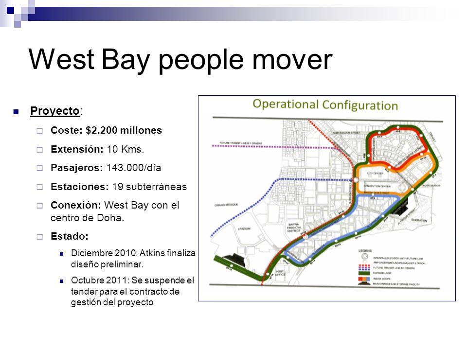 West Bay people mover Proyecto: Coste: $2.200 millones Extensión: 10 Kms. Pasajeros: 143.000/día Estaciones: 19 subterráneas Conexión: West Bay con el