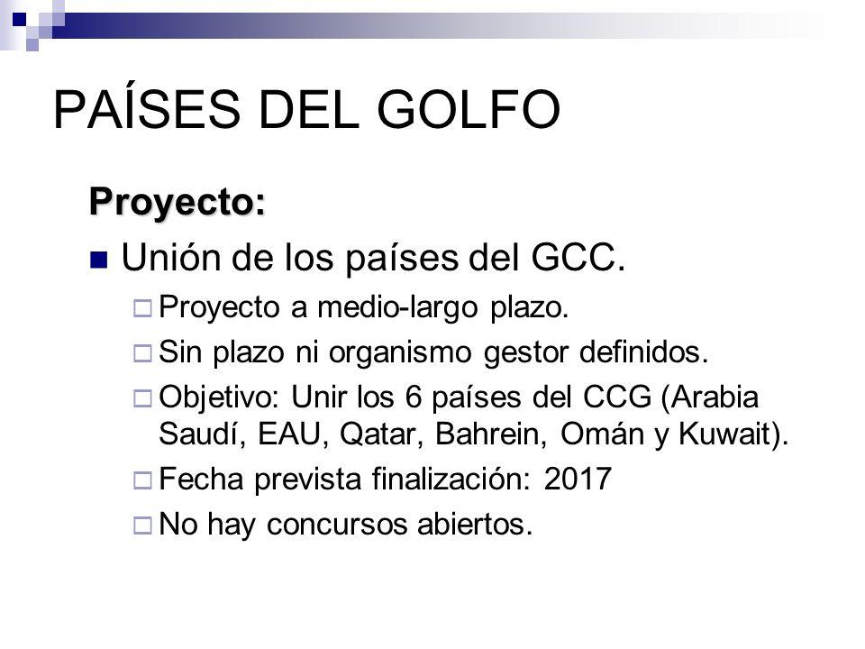 PAÍSES DEL GOLFO Proyecto: Unión de los países del GCC. Proyecto a medio-largo plazo. Sin plazo ni organismo gestor definidos. Objetivo: Unir los 6 pa