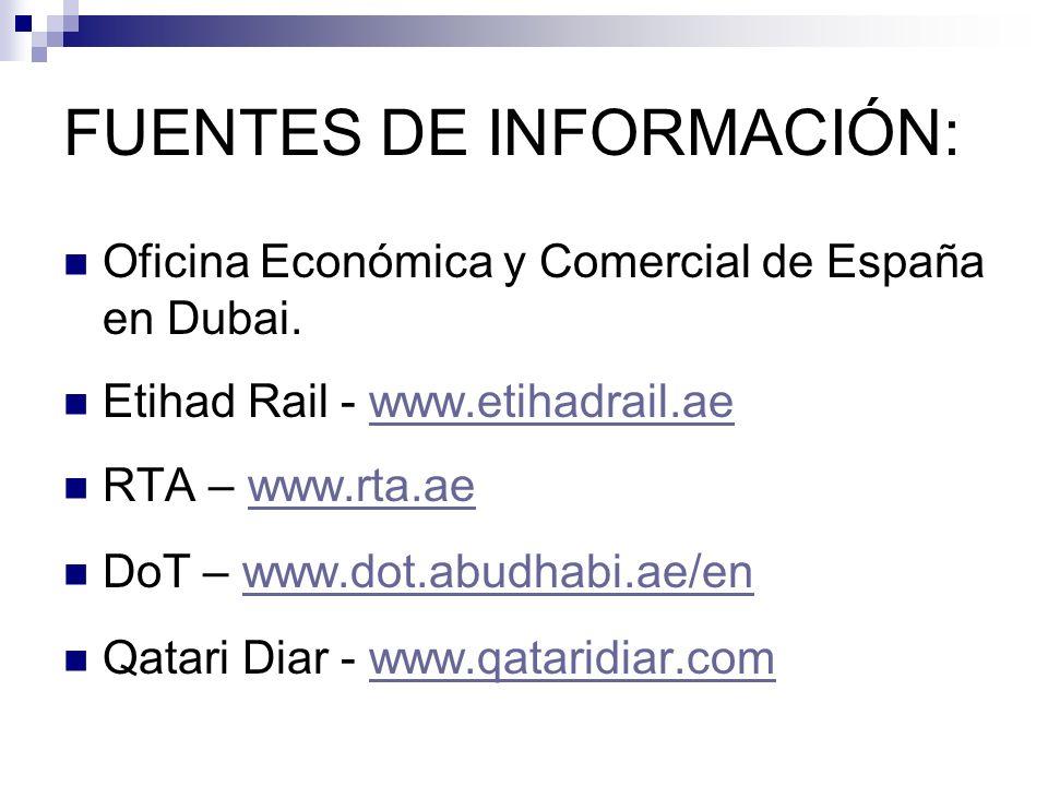 FUENTES DE INFORMACIÓN: Oficina Económica y Comercial de España en Dubai. Etihad Rail - www.etihadrail.aewww.etihadrail.ae RTA – www.rta.aewww.rta.ae