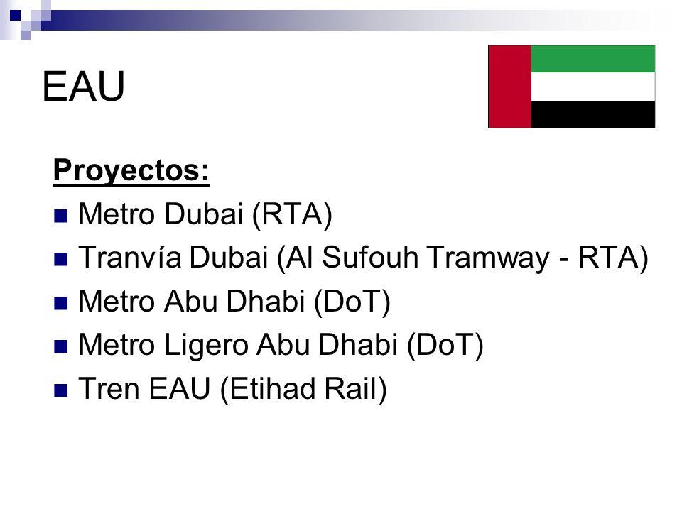 EAU Proyectos: Metro Dubai (RTA) Tranvía Dubai (Al Sufouh Tramway - RTA) Metro Abu Dhabi (DoT) Metro Ligero Abu Dhabi (DoT) Tren EAU (Etihad Rail)