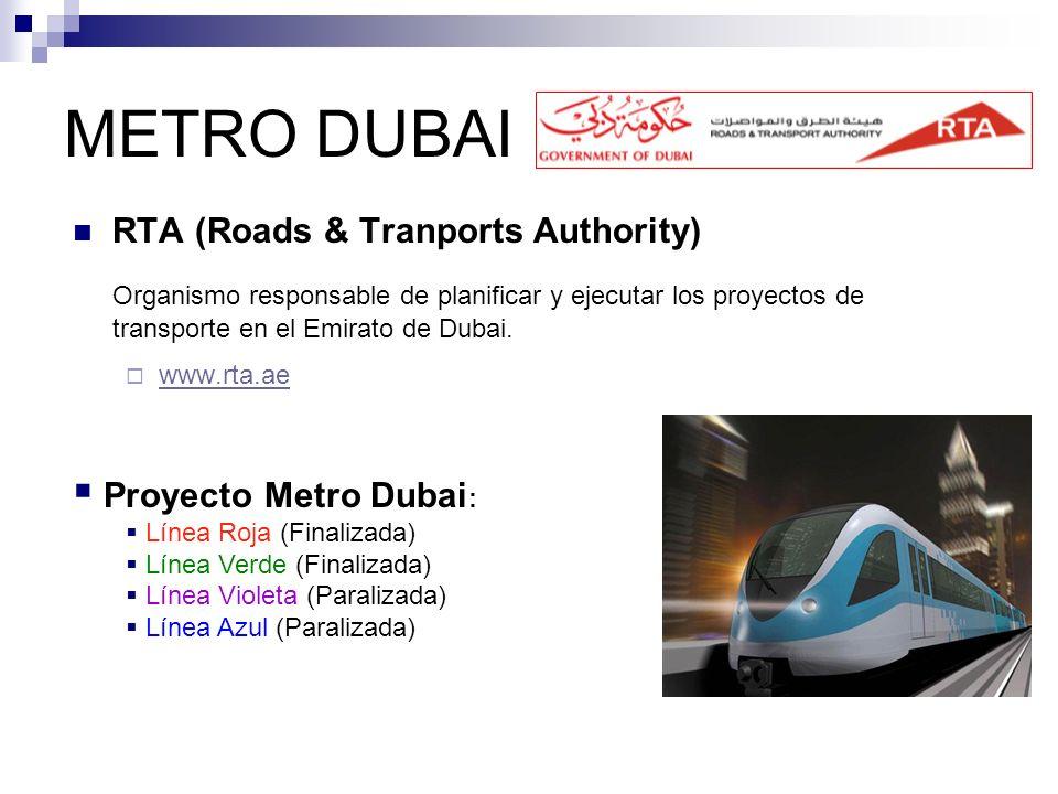METRO DUBAI RTA (Roads & Tranports Authority) Organismo responsable de planificar y ejecutar los proyectos de transporte en el Emirato de Dubai. www.r