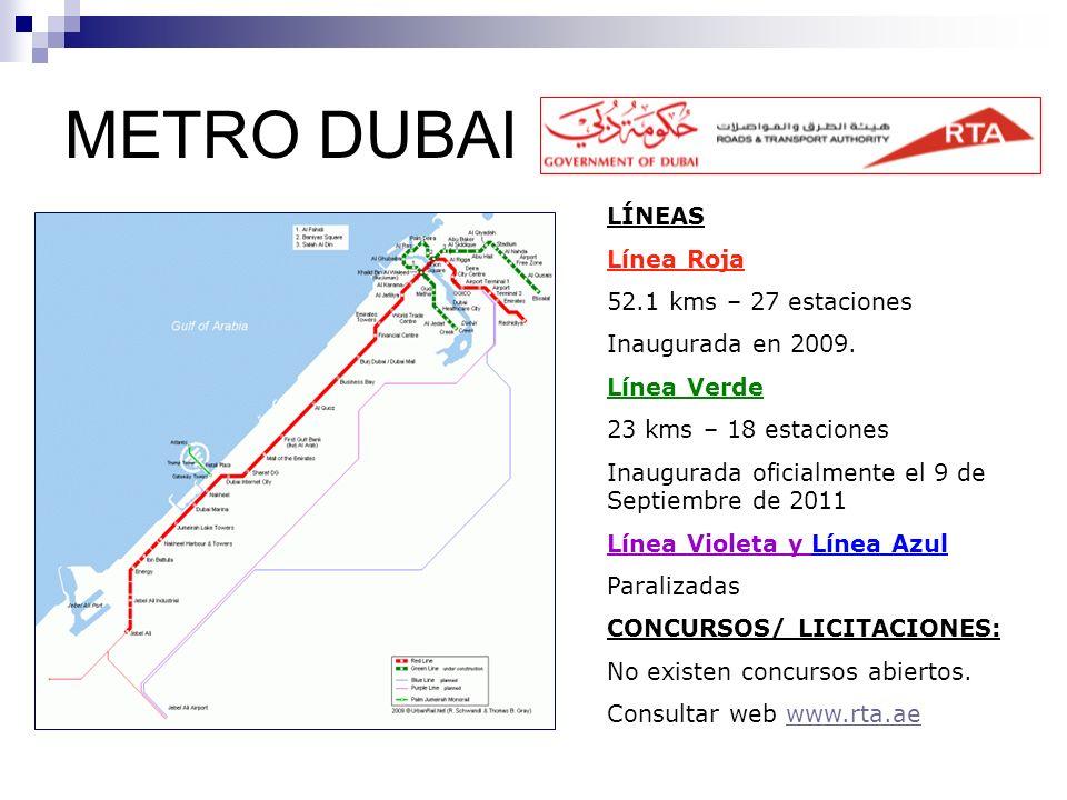 METRO DUBAI LÍNEAS Línea Roja 52.1 kms – 27 estaciones Inaugurada en 2009. Línea Verde 23 kms – 18 estaciones Inaugurada oficialmente el 9 de Septiemb
