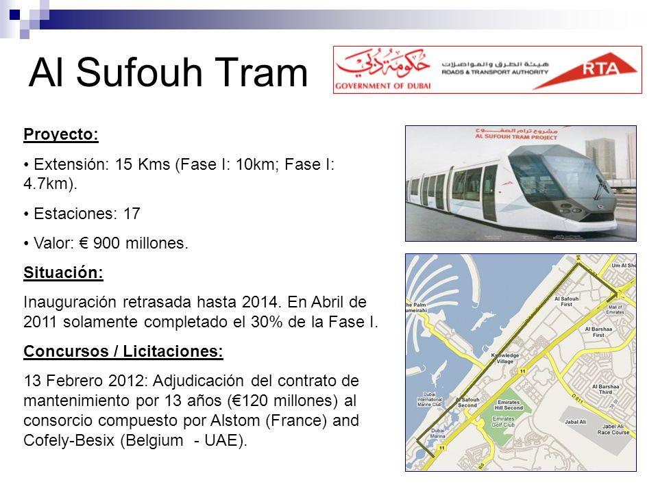 Al Sufouh Tram Proyecto: Extensión: 15 Kms (Fase I: 10km; Fase I: 4.7km). Estaciones: 17 Valor: 900 millones. Situación: Inauguración retrasada hasta