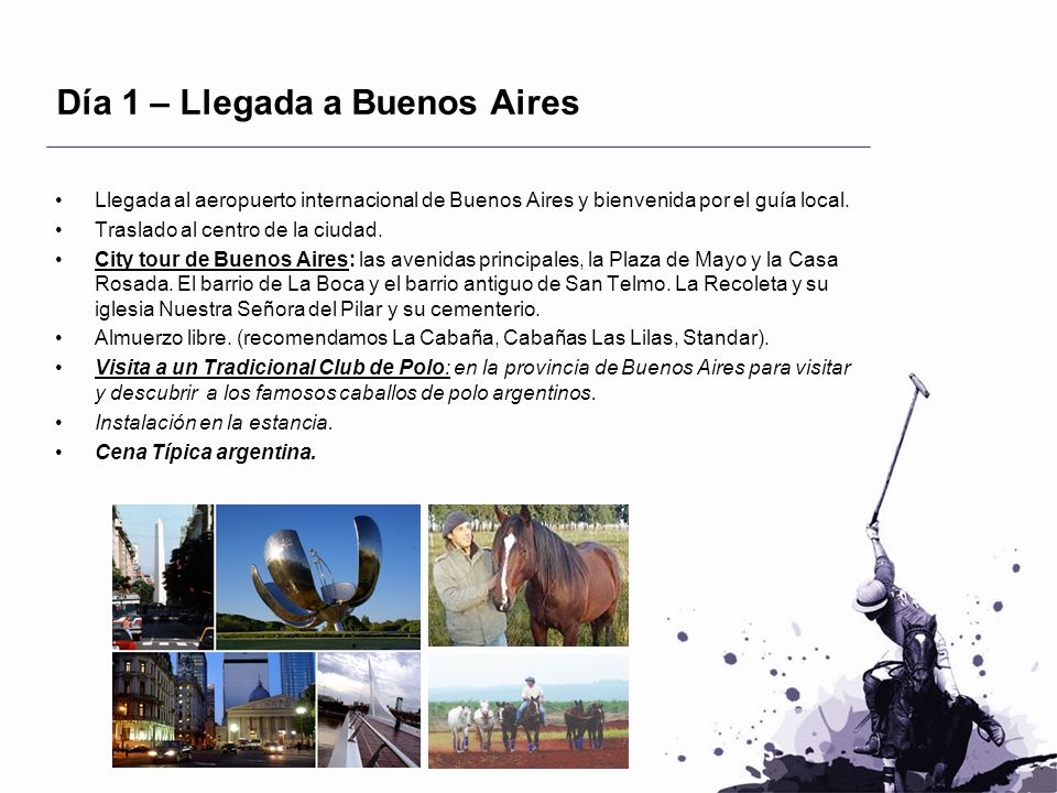 Día 1 – Llegada a Buenos Aires Llegada al aeropuerto internacional de Buenos Aires y bienvenida por el guía local. Traslado al centro de la ciudad. Ci
