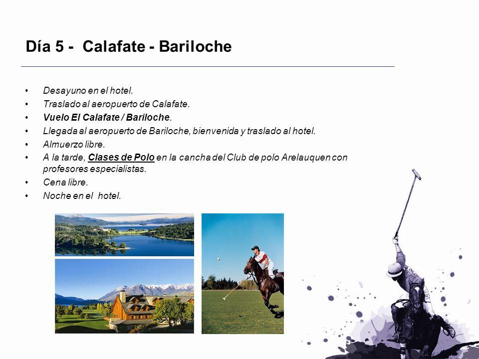 Día 5 - Calafate - Bariloche Desayuno en el hotel. Traslado al aeropuerto de Calafate. Vuelo El Calafate / Bariloche. Llegada al aeropuerto de Bariloc