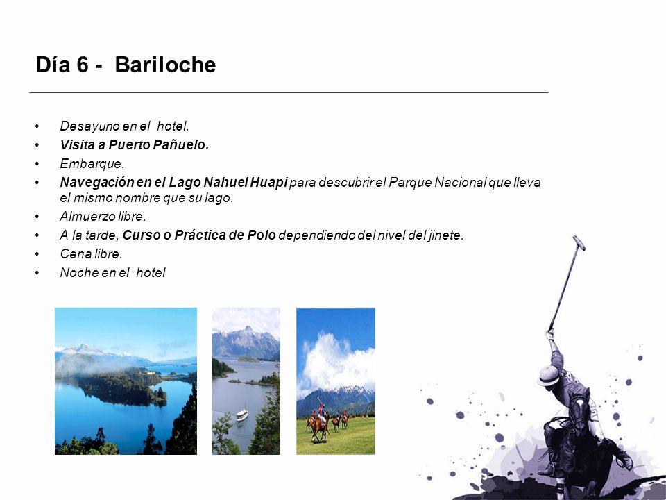 Día 6 - Bariloche Desayuno en el hotel. Visita a Puerto Pañuelo. Embarque. Navegación en el Lago Nahuel Huapi para descubrir el Parque Nacional que ll
